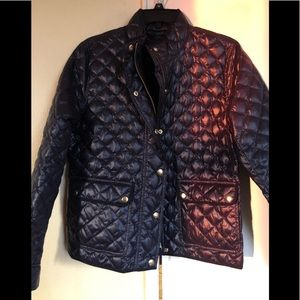 J.Crew quilted navy jacket Petite Lg